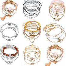 17 KM Bohemia Multi capa pulsera para mujer oro plata Color Shell borla Cruz pulseras y brazaletes 2019 joyería femenina regalos