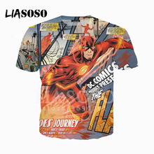 df08cff001f LIASOSO 3D impreso Unisex el Flash DC Comics superhéroe cuello redondo  Camiseta verano camiseta jersey Harajuku