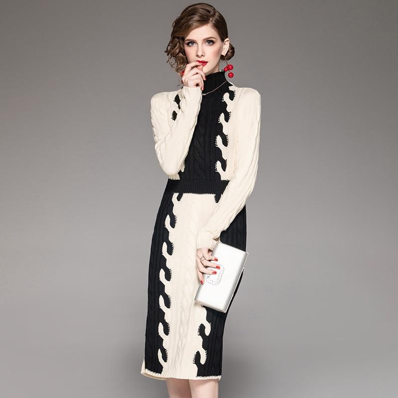 Brand Winter Sweater Dresses 2018 Fashion Autumn Women Long Sleeve Turtleneck Color Block Knitting Dress Elegant Pencil Dresses