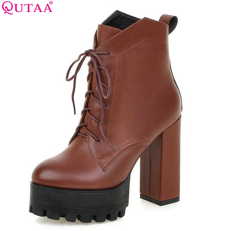 QUTAA Classic Brown Women Shoes PU leather Square High Heel Ankle Boots Round Toe Lace Up Women Motorcycle Boots Size 34-42 vinlle 2017 women pumps college style square med heel vintage slip on pu leather shoes casual round toe girl shoes size 34 40