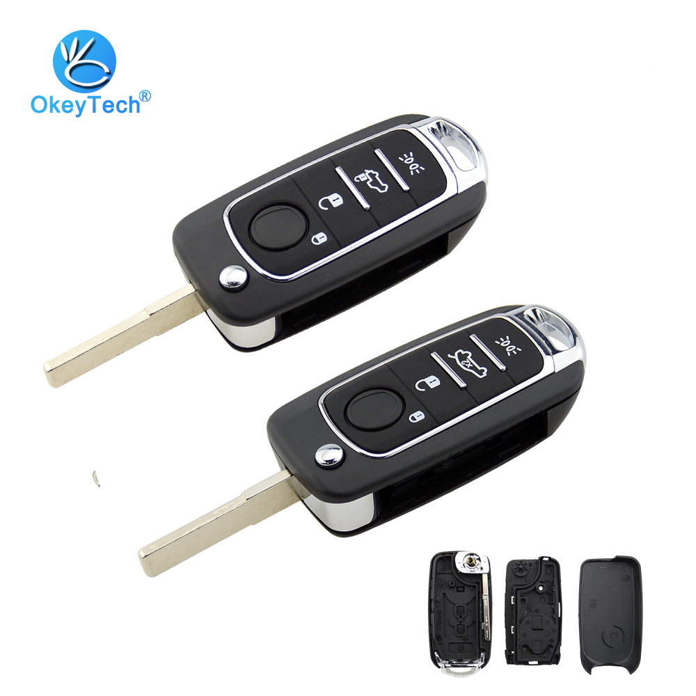 OkeyTech Folding <font><b>Remote</b></font> Car <font><b>Key</b></font> Fob For <font><b>Fiat</b></font> Egea Tipo 500X With Uncut Blade SIP22 3/4 Buttons With Battery Holder image
