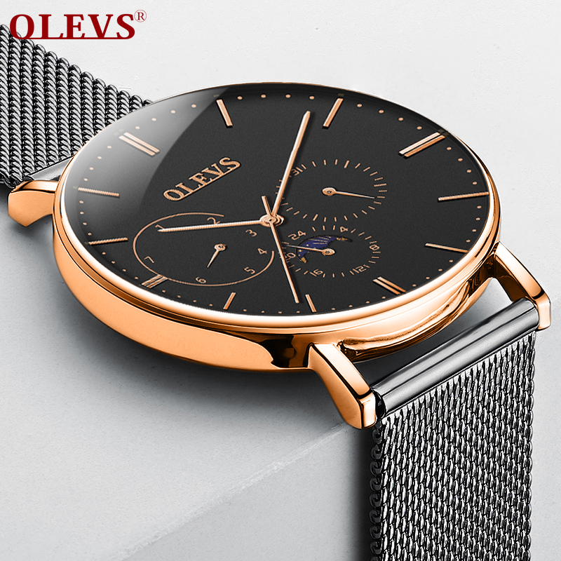 OLEVS Watch men waterproof luxury Big dial Clock relogio masculino Fashion Milanese band Genuine Leather Moon phase watches saat olevs big dial watches men moon phase men watches top brand luxury quartz watch man leather sport wrist watch clock relogio saat