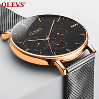 OLEVS Watch men waterproof luxury Big dial Clock relogio masculino Fashion Milanese band Genuine Leather Moon phase watches saat