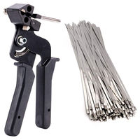 THGS 200Pcs Stainless Steel Cable Tie Tool Auto Tightener Cut Fasten Self Locking Zip