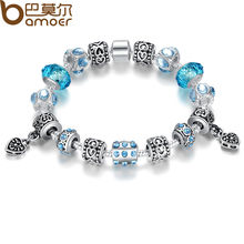 Bamoer 2016 European Style 925 Silver Crystal Charm Bracelet With Blue Murano Glass Beads DIY Jewelry For Women SDP1394