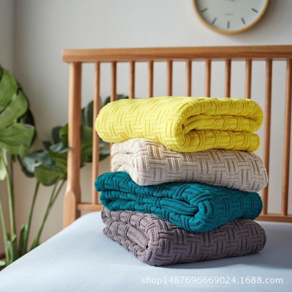 120x180 Cm Beige/grijs/groen/geel Katoen Kabel Gebreide Deken Gooi Deken Kids Sofa Knit Draad Deken Cover