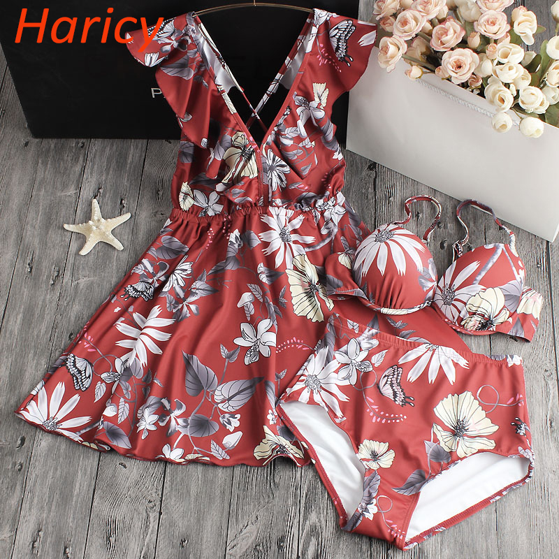 2018 Sexy High Waist Bikini Women Dress Swimwear Push Up Swimsuit Ruffle Bathing Suit Floral Biquinis Summer Beach Wear Female цена и фото