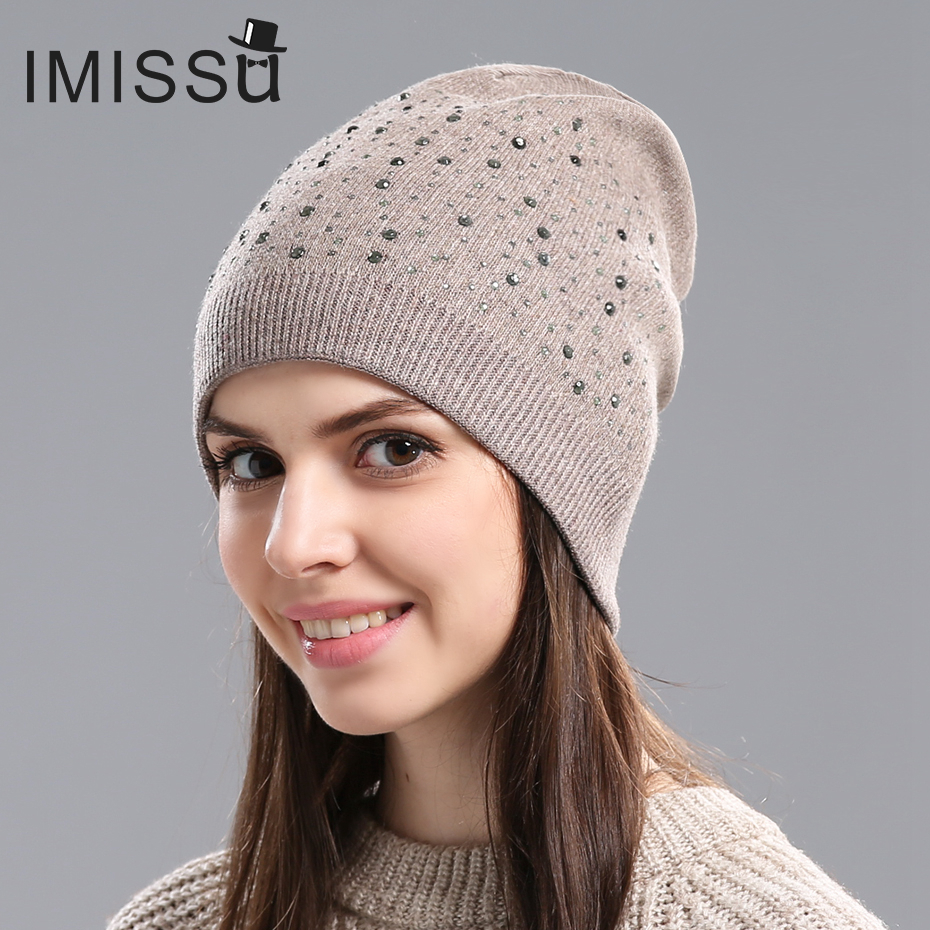 IMISSU Autumn&Winter Women's Knitted Wool Beanie Hat Casual Cap Solid Color Winter Hats for Women Good Quality Female Hat winter