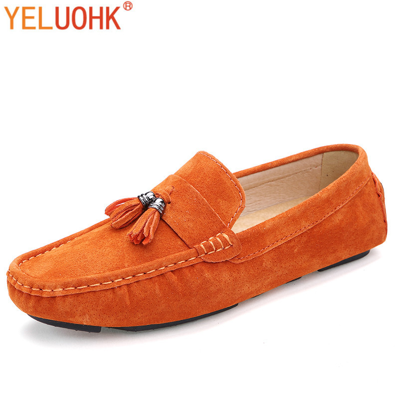 Natural Suede Moccasins Men Shoes Casual Gommino Men Loafers Slip On High Quality Driving Shoes Men