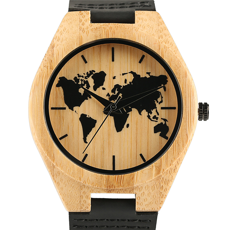 New Arrival 2018 Mens Bamboo Watch World Map Pattern Display Hot Fashion Men Genuine Leather Wristwatch Cool Natural Clock Gift