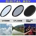 Caliente (3 unids/set) 58mm Filtro UV + 58mm CPL Polarizador Circular + 58mm nd2 a nd400 kit de filtro para nikon canon 18-55 50/1. 4G