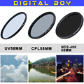 Hot (3pcs/set) 58mm UV Filter + 58mm Circular Polarizing CPL + 58 mm ND2 to ND400 Filter Kit for Canon 18-55 Nikon 50/1.4G