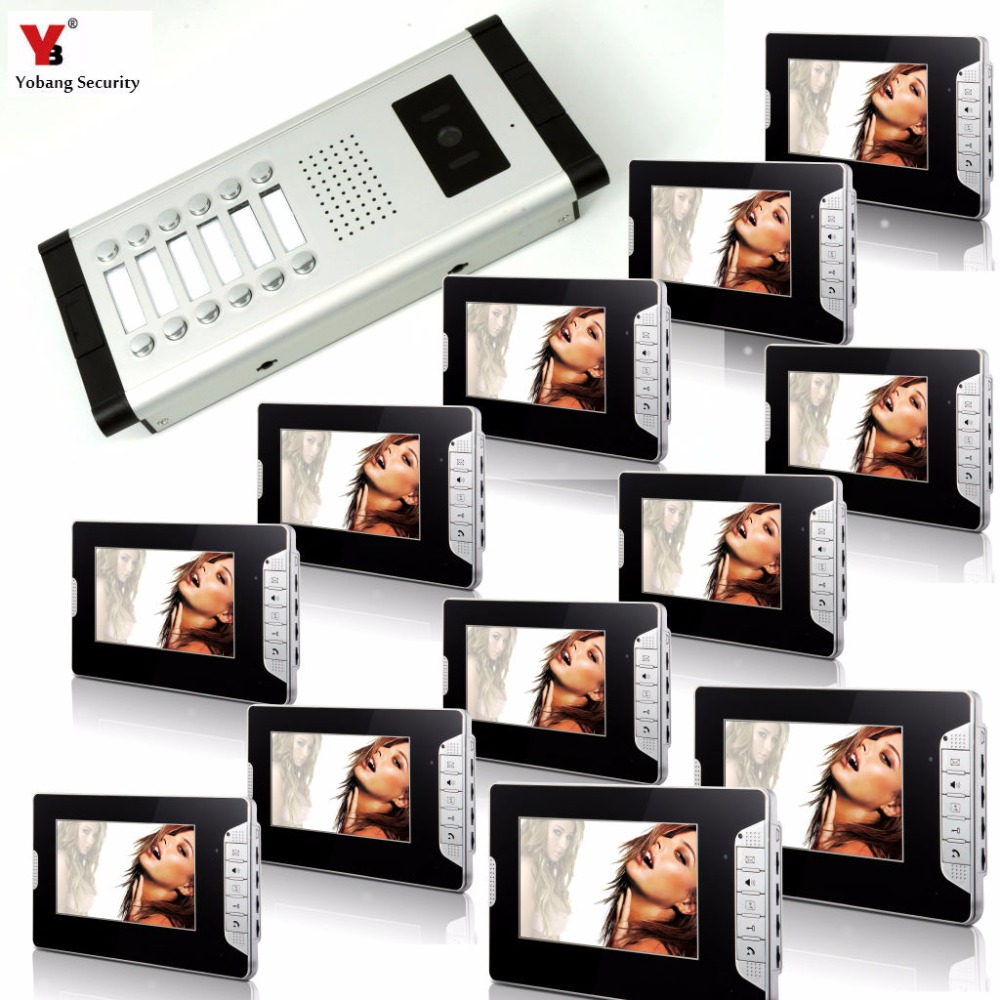 Yobang Security Wired 7Video Door Phone Video Door Entry System Intercom Doorbell Home Security 12 Units Apartment Intercom Kit yobang security 9 inch lcd home security video record door phone intercom system doorbell video monitor for apartment villa