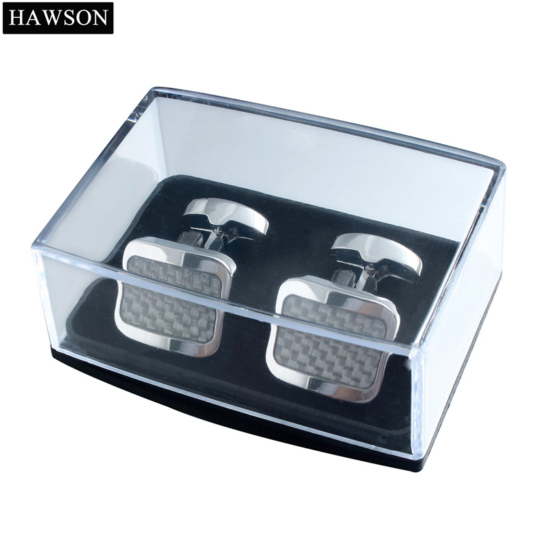 1e56bde8c32 Trendy Grey Carbon Fiber Cufflinks Metal Copper Cuff Links Wedding For Men  Dress Shirt with Box-in Tie Clips & Cufflinks from Jewelry & Accessories on  ...