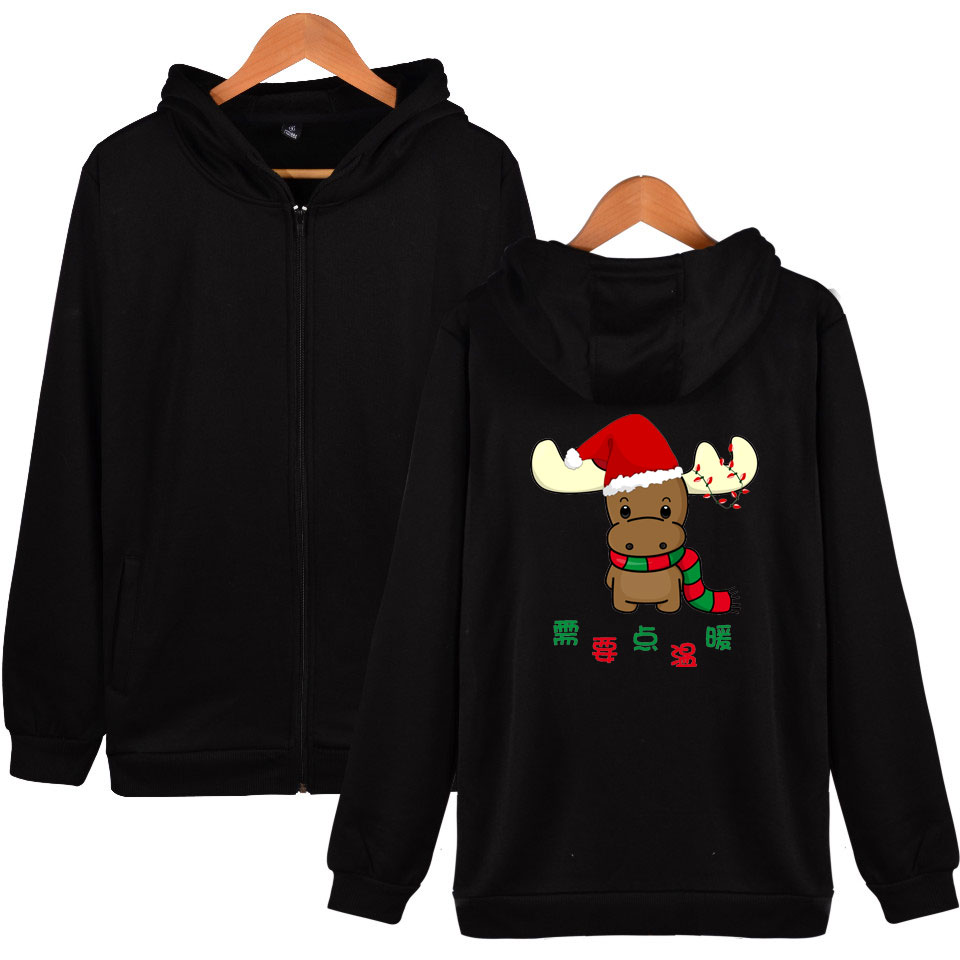 LUCKYFRIDAYF Kpop Christmas print Unisex Women Men Fashion Warn ing Zipper Sweatshirt Hip Hop Fans Hoodie Cool Plus 4XL Clothes in Hoodies amp Sweatshirts from Women 39 s Clothing