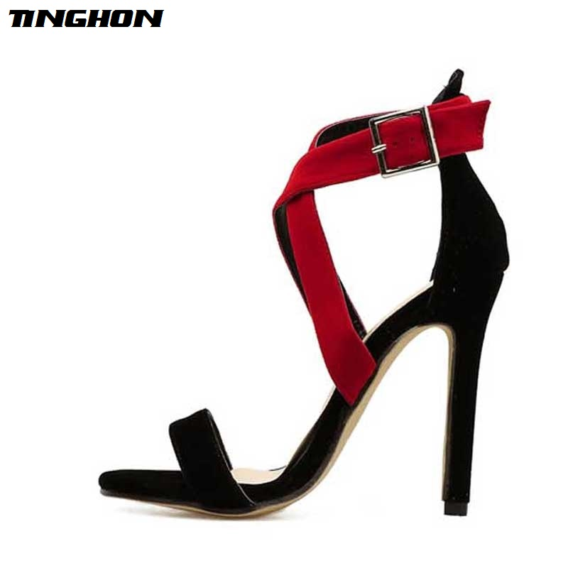 TINGHON New Sexy Women Sandals Pumps Open Toe Buckle Strap Sandals Women Stiletto Party Wedding Shoes in High Heels from Shoes