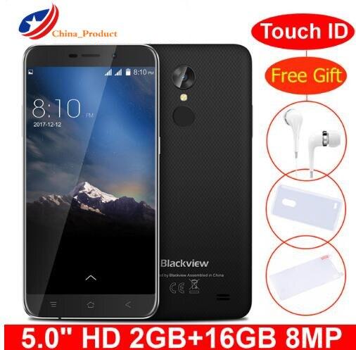 Blackview a10 mt6580a quad core 2 gb ram 16 gb rom 5 polegada hd 3g smartphone android 7.0 impressão digital 8.0mp câmera traseira do telefone móvel