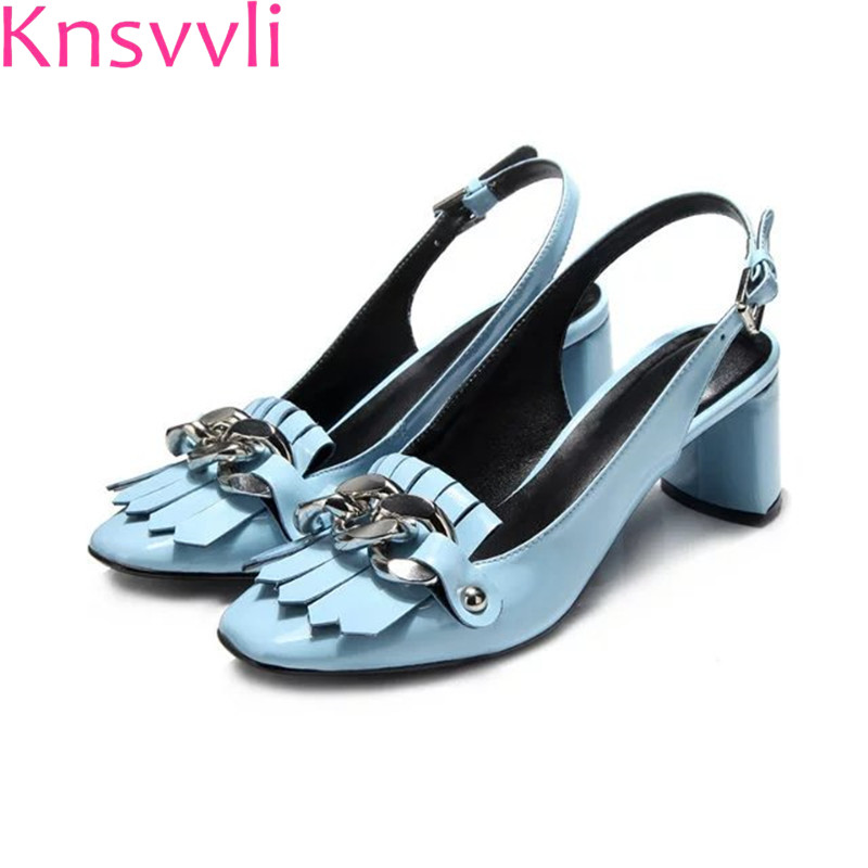 Knsvvli Square toe Tassel Silver Chain 6 CM High Heels Slingbacks Shoes Woman Blue Black Patent Leather Chunky High heel Shoes