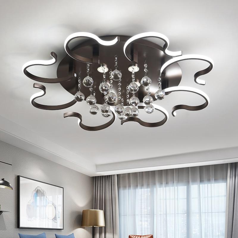 Lustre en cristal noir moderne pour salon en aluminium monté en surface Lustre en AC90-265V Lustre de plafond moderne éclairages