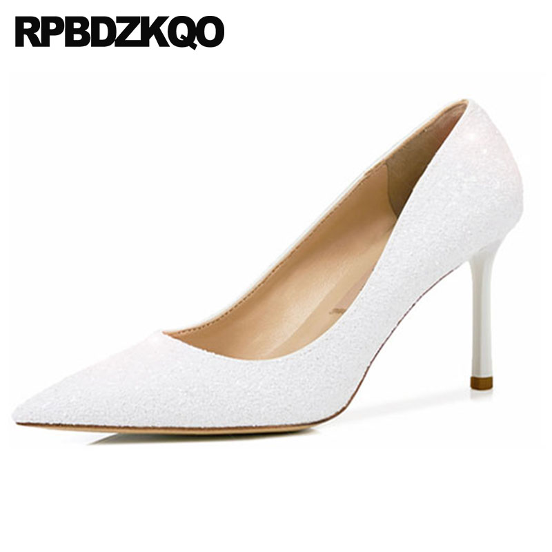 handmade thin golden white 8cm super glitter pointed toe sparkling high heels size 4 34 pumps ultra gold bridal shoes ladieshandmade thin golden white 8cm super glitter pointed toe sparkling high heels size 4 34 pumps ultra gold bridal shoes ladies