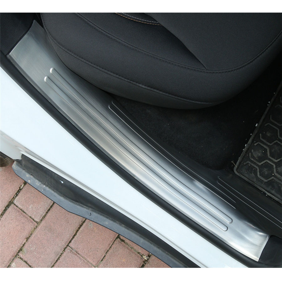 Pour Jeep boussole 17 + acier inoxydable 4 pièces intérieur voiture porte seuil garniture garde plaque éraflure couverture complète décor planche autocollants