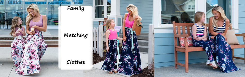 Mother daughter dresses Floral Printed Long Dress Mommy and me clothes Family matching clothes Mom and daughter dress