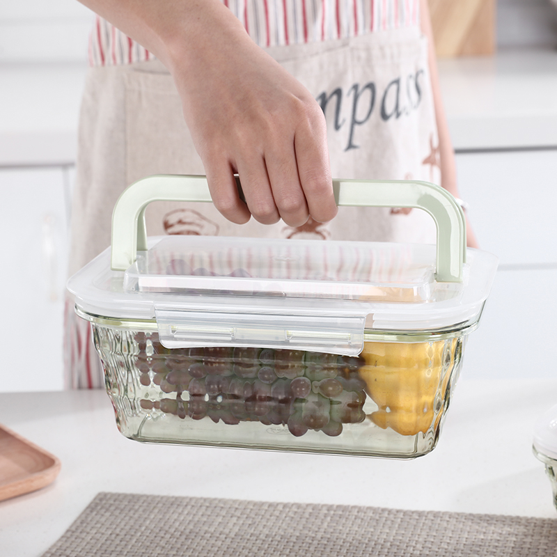 050 3pcs Fashion Transparent belt cover hand held sealed fresh keeping storage box food case in Bottles Jars Boxes from Home Garden