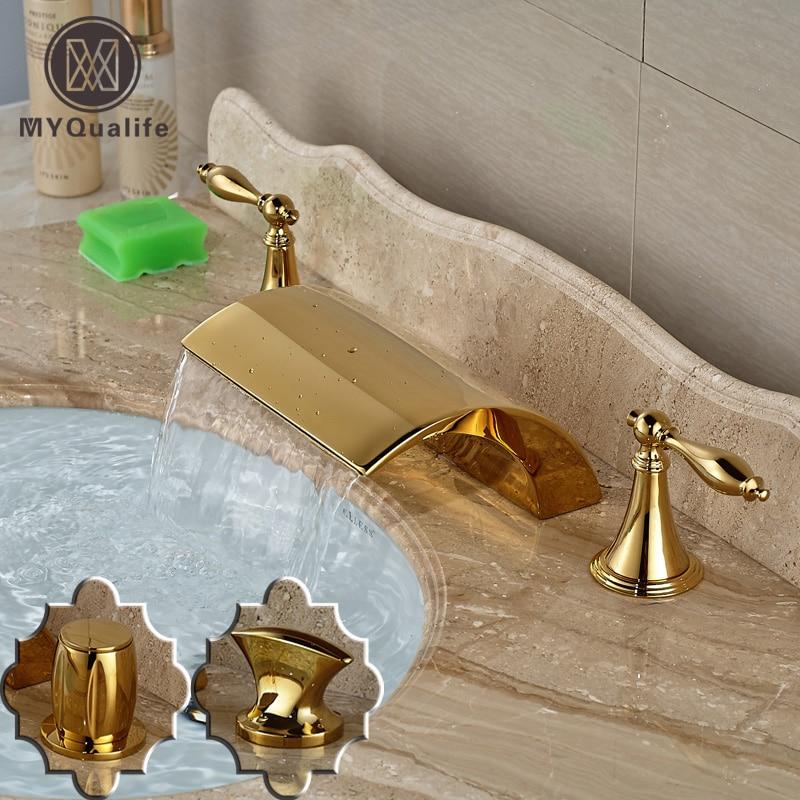 цена на Modern Widespread Deck Mounted Waterfall Basin Faucet Golden Bathroom Mixer Water Taps Dual Handles
