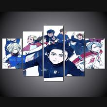 5 Panels Wall Art YURI!!! on ICE Anime Movie Poster Painting Art Print Unframed 8638