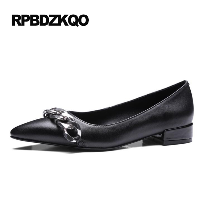 Black Women Dress Shoes Chain Flats Pointed Toe 2017 Breathable European Nude Spring Autumn Chic Ladies Metal Low Heel Beautiful new spring autumn women shoes pointed toe high quality brand fashion ol dress womens flats ladies shoes black blue pink gray