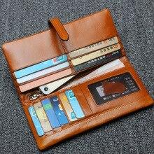 oil waxing cowhide wallet for women Long designer drew-string wallet holder women leather genuine purse free shipping YS1185