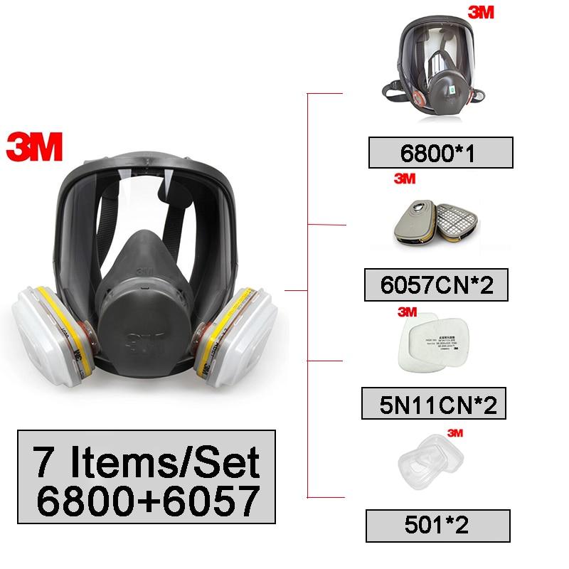 3 M 6800 + 6057 masque facial réutilisable masque filtrant Anti-poussière/gaz organiques/chlore 7 articles pour 1 Set LT097