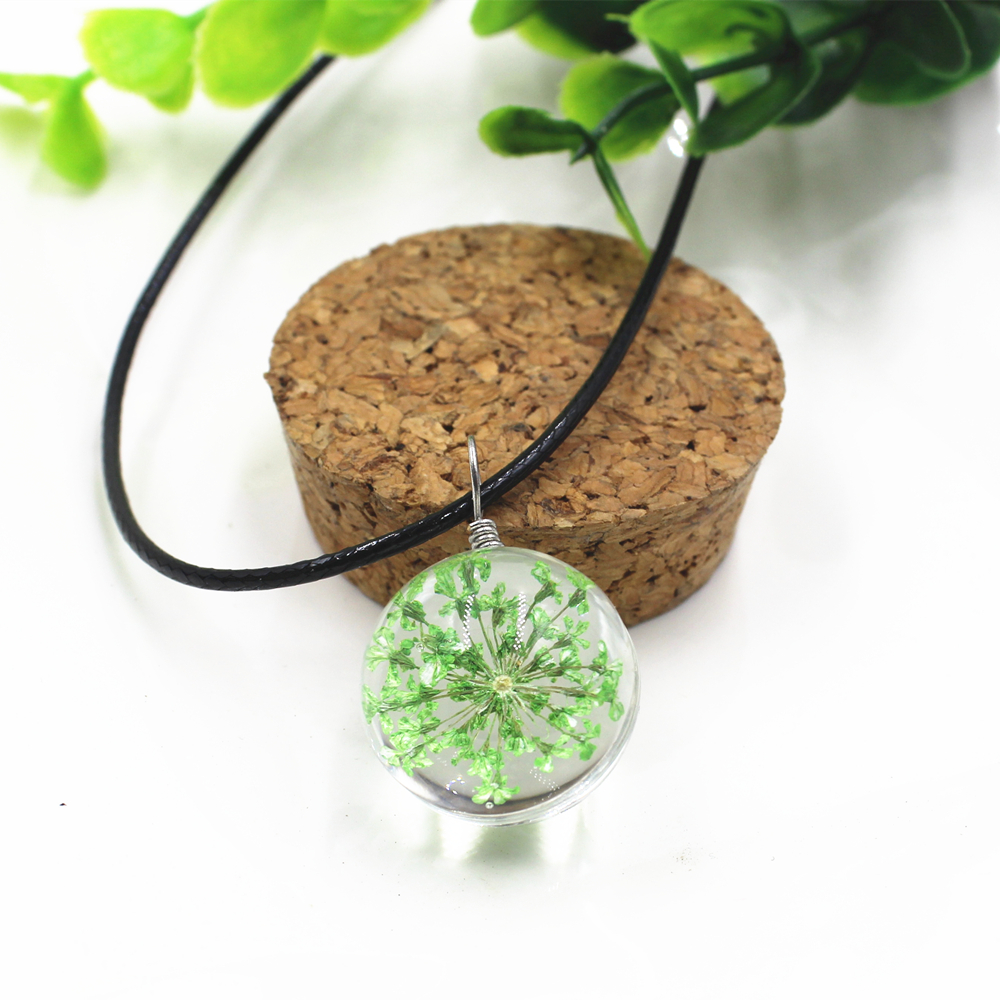 2017 Hot sale Real Dandelion Jewelry Crystal Glass Ball Dandelion Necklace Long Strip Leather Chain Pendant Necklaces For Women