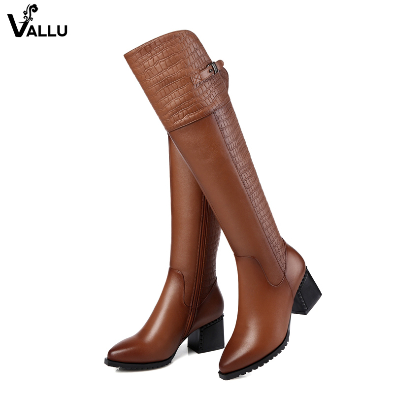 Stylish Brand Luxury High Boots For Women Knee High Lady Natural Leather Winter Plush Boots Female Heel Snow Shoes Plus Size 42 plus size 34 43 autumn winter genuine leather women flower shoes lady high heel long boots embroidered over knee high snow boots
