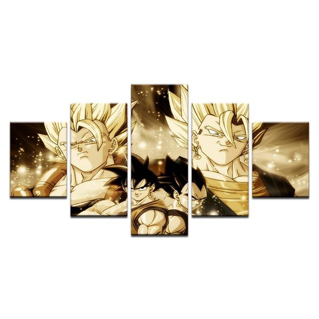 5 Piece Modern Painting Goku and Vegeta Canvas Printed Wall Art ...