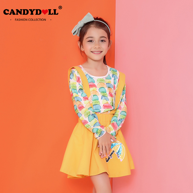 Candydoll Spring Autumn Children Girls Clothing Sets Fashion Girls Overalls Skirts+Long Sleeve Shirts Cute Printed Suit SAJ3089 фильтр для воды новая вода od310