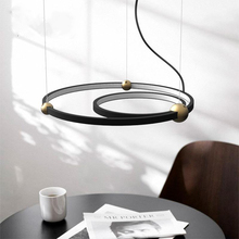 American Industrial Wind Circle Led Lamps Nordic Creative Personality Bar Coffee Restaurant Round Ring Star Chandelier