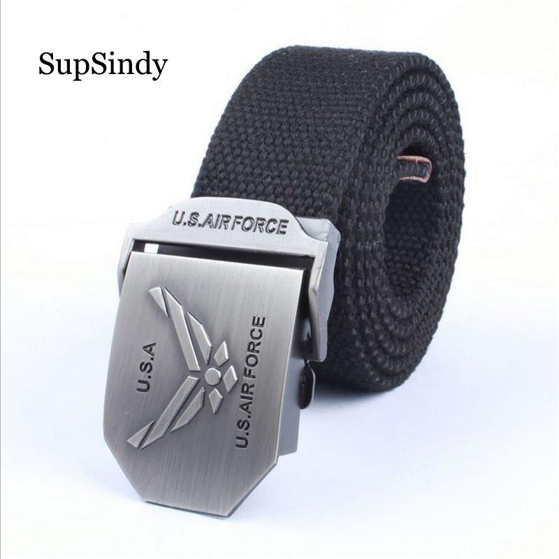 SupSindy Men&women Canvas   belt   US Air Force metal buckle luxury jeans   belts   for men vintage tactical   belt   military strap male