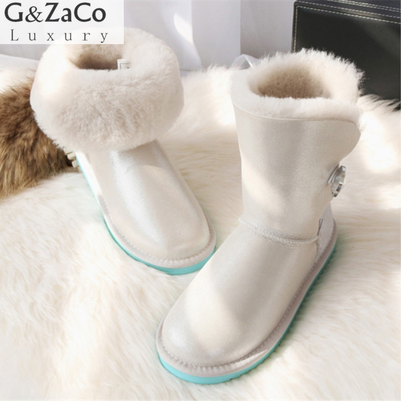 G&Zaco Luxury Winter Fur Boots Australia Sheepskin Snow Boots Natural Wool Middle Classic Boots Crystal Button Warm Flat Shoes luxury women classic snow boots waterproof sheepskin wool one natural wool inside fur boots crystal buckle warm winter shoes