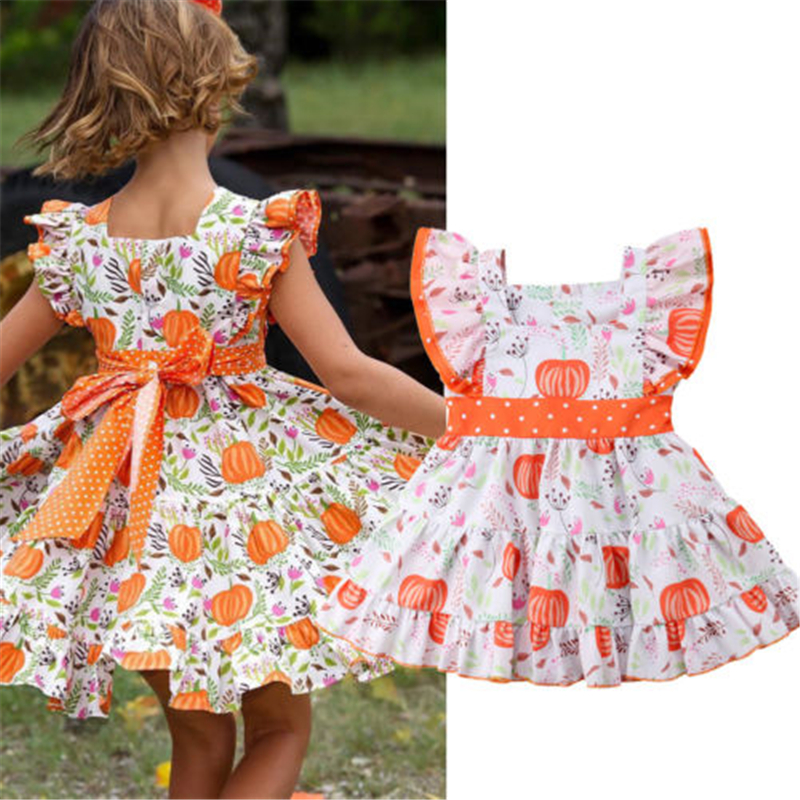 Thanksgiving Toddler Kids Girl Dress Floral Printed Casual Clothes One-Piece Pumpkin Print Costumes цена 2017