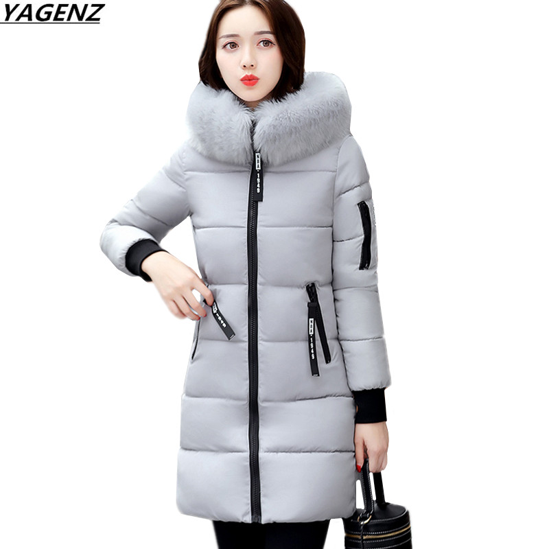 Winter Coat New Hooded Fur Collar Thicken Down Cotton-padded Jacket Women Coat Casual Large Size Lady Cotton Outerwear YAGENZ489 2016 winter jacket women down coat fur hooded vest down coats vest pant underwear women s suit thicken set outerwear trousers