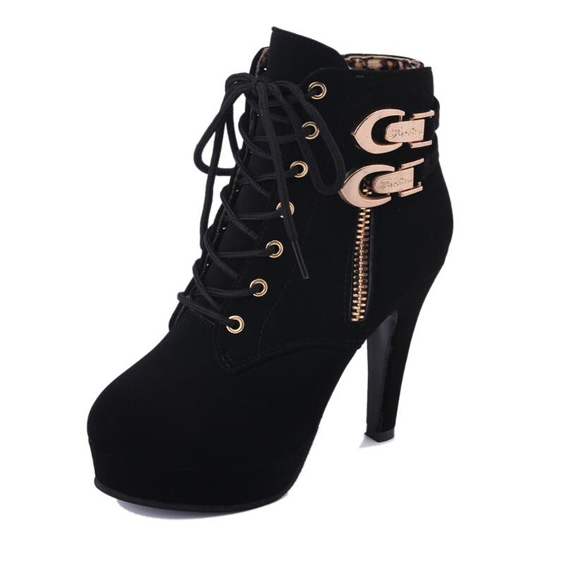 MCCKLE Plus Size Ankle Boots Women Platform High Heels Female Lace Up Women's Shoes Buckle Woman Short Boot Ladies Footwear 9