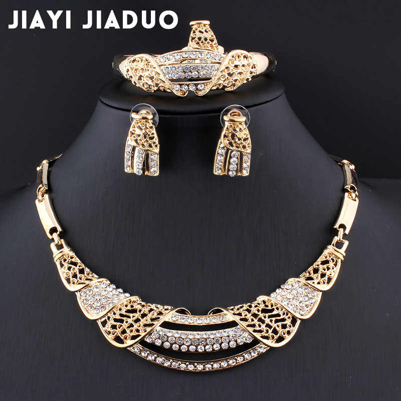 jiayi jiaduo New African Bridal Jewelry Sets Gold color Necklace & Earrings Flower for Women Gifts Wedding Accessories