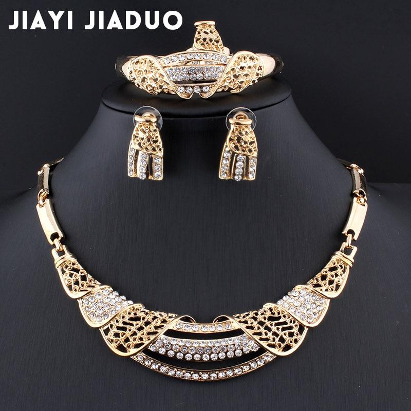 Jiayi Jiaduo Neue Afrikanische Braut Schmuck Sets Gold Farbe Halskette & Ohrringe Blume Für Frauen Geschenke Hochzeit Zubehör Verpackung Der Nominierten Marke Hochzeits- & Verlobungs-schmuck