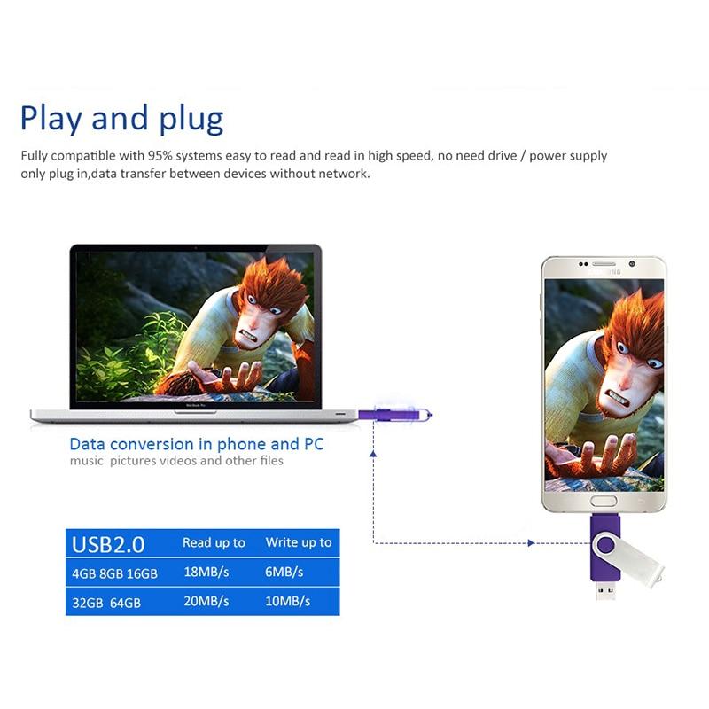 სმარტფონი USB2.0 Flash Drive OTG 4gb 8gb 16gb 32gb - შემნახველი წყაროები - ფოტო 6