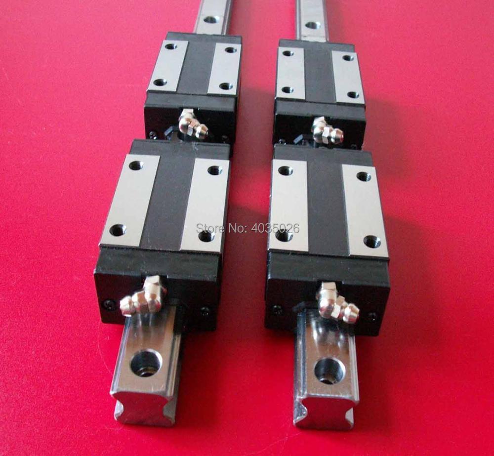 CNC Set 20-2000mm 2x Linear Guideway Rail 4x Square type carriage bearing block