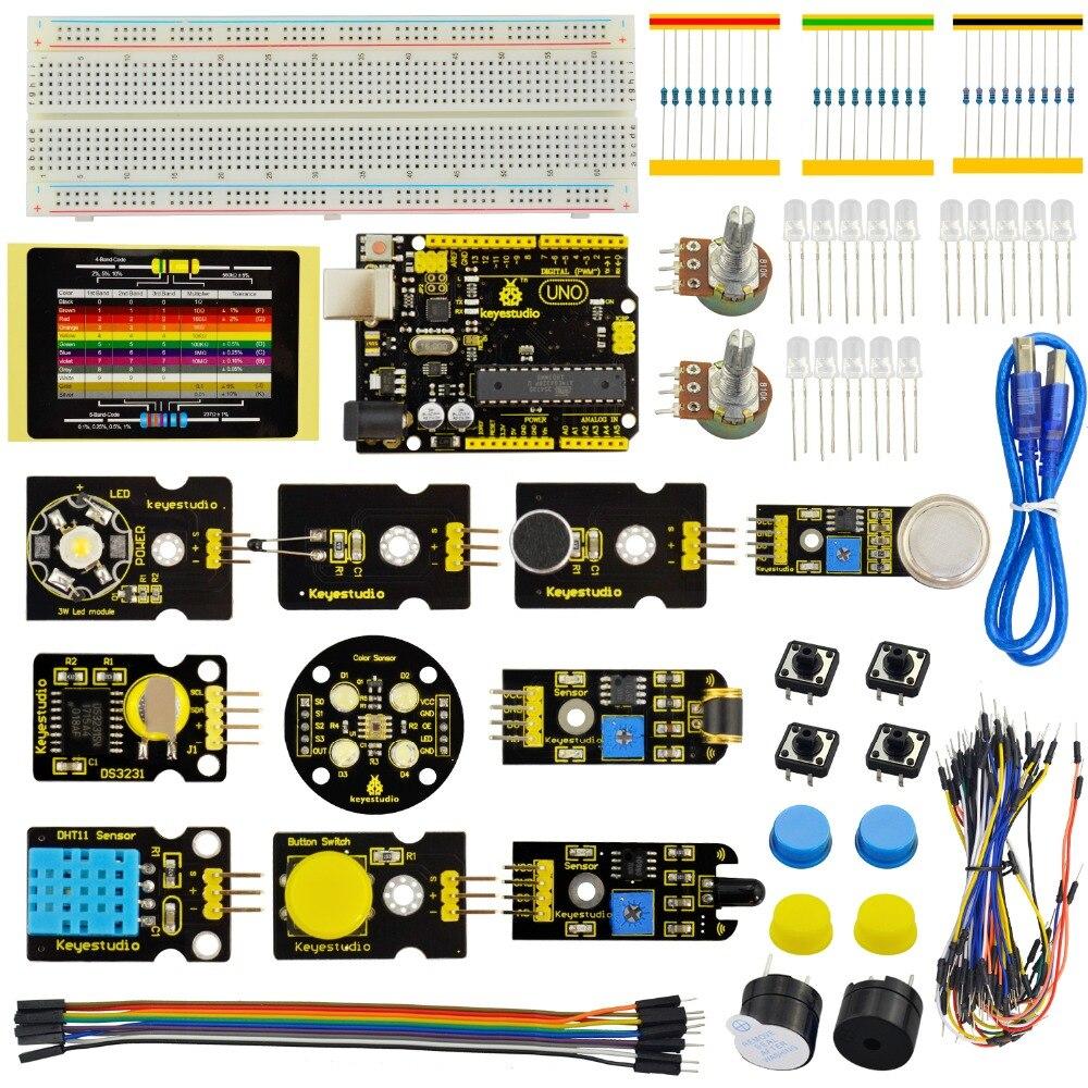 Kit de démarrage capteur Keyestudio-K3 pour Kit d'apprentissage éducatif Arduino + UNO R3 + DHT11 + DS3231 + capteur de couleur/19 projets