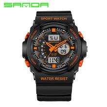 2017 Moda SANDA Hombres Reloj Impermeable de Los Deportes Militares Relojes de Cuarzo de Los Hombres Led Digital Reloj relogio masculino