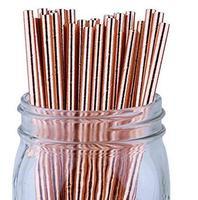 Decorative Solid Paper Straws ( 10,000pcs Solid, Metallic Rose Gold) Foil Rose Gold Paper Straws Wedding Favors Drinking Straws
