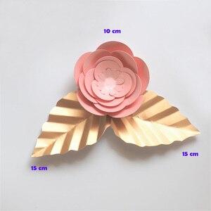 Flores artificiales 10CM + hojas 15CM flores di apuzzo Salvatore Fondo gigante DIY flores de papel para boda decoración de la fiesta de la ducha de bebé